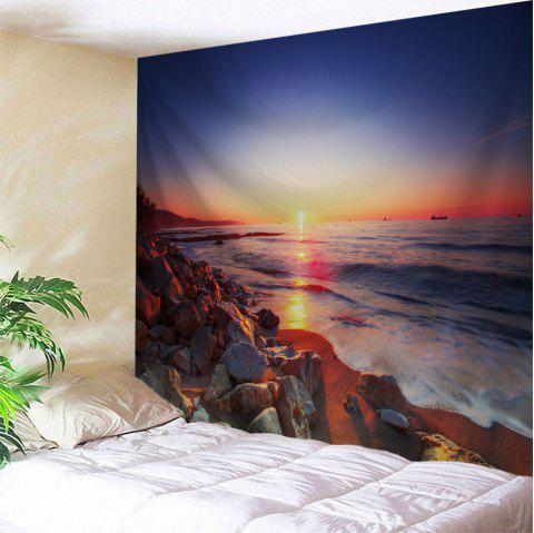 Sunset Beach Stone Print Tapestry Wall Hanging Art - COLORMIX W71 INCH * L79 INCH