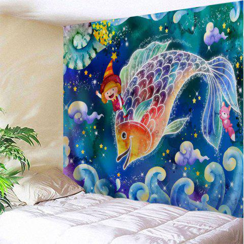 Cartoon Carp Print Tapestry Wall Hanging Art - COLORMIX W71 INCH * L91 INCH