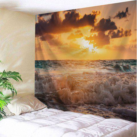 Sunrise Beach Wave Print Tapestry Wall Hanging Art - COLORMIX W51 INCH * L59 INCH
