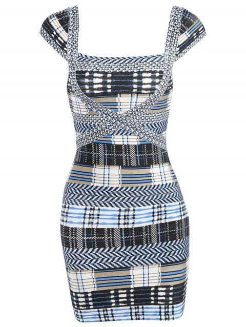 Plaid Cap Sleeve Bandage Dress - GRAY S