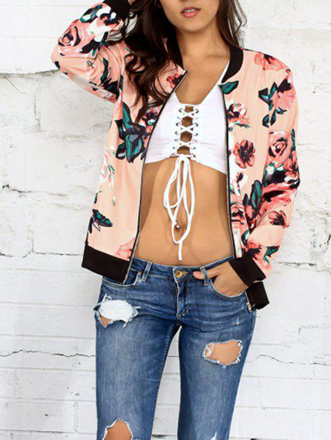 Floral Zippered Jacket - PINK L