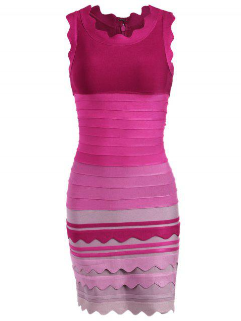 Night Out Ombre Color Bandage Dress - ROSE RED XL
