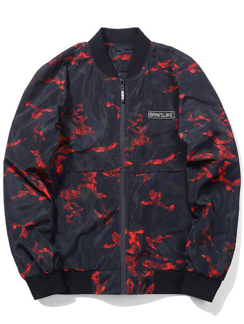 Zip Up Camo Pattern Bomber Jacket - Rouge 3XL