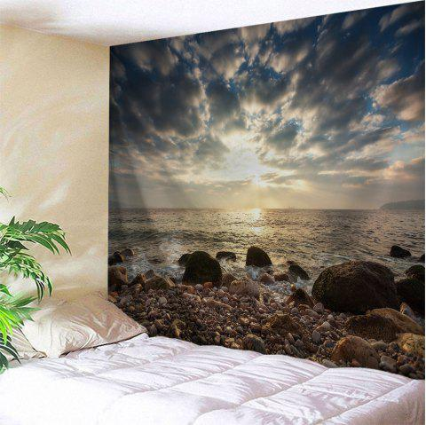 Stone Beach View Print Tapestry Wall Hanging Art - multicolore W71 INCH * L79 INCH