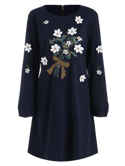 Plus Size Floral Applique Long Sleeve Dress - CADETBLUE 3XL