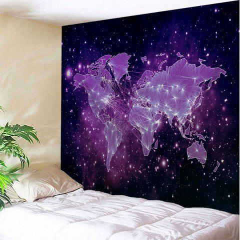 Galaxy World Map Print Tapestry Wall Hanging Art - PURPLE W59 INCH * L59 INCH