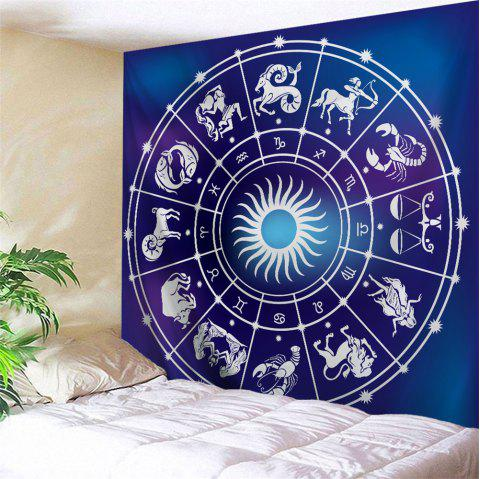 Zodiac Signs Print Tapestry Wall Hanging Art - BLUE W71 INCH * L91 INCH