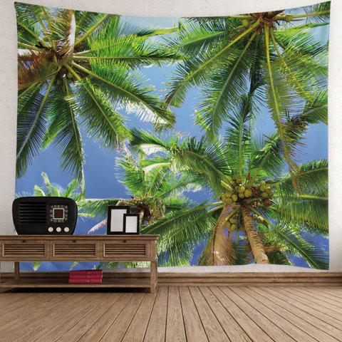 Hawaiian Coconut Tree Printed Wall Hanging Tapestry - GREEN W79 INCH * L59 INCH
