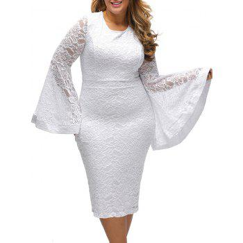 Plus Size Flared Sleeve Pencil Lace Dress