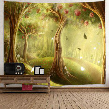 Fairy Apple Orchard Printed Wall Blanket Tapestry - YELLOW GREEN W59 INCH * L59 INCH