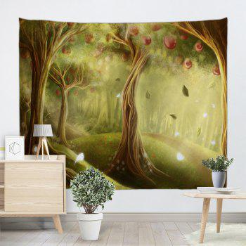 Fairy Apple Orchard Printed Wall Blanket Tapestry - YELLOW GREEN W71 INCH * L79 INCH