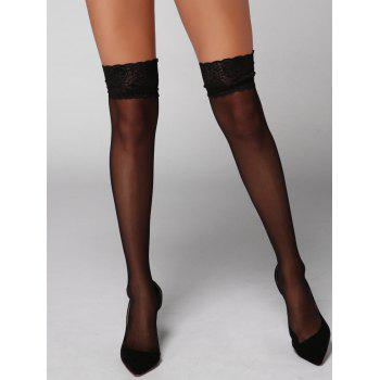 Sheer Lace Insert Stockings - BLACK ONE SIZE