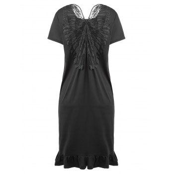 Plus Size Slit Ruffle Butterfly Embroidered Dress