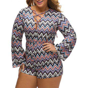 Taille plus grande Zig Zag Lace Up Romper - Rayures Oranges XL