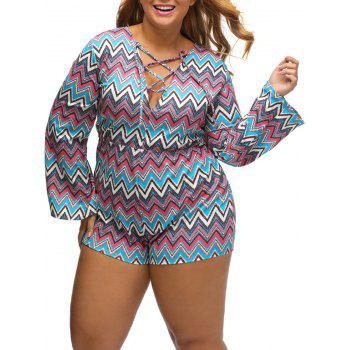 Plus Size Zig Zag Lace Up Romper - XL XL