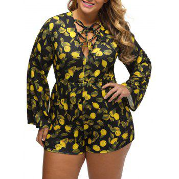 Plus Size Lemon Print Lace Up Romper - YELLOW 2XL