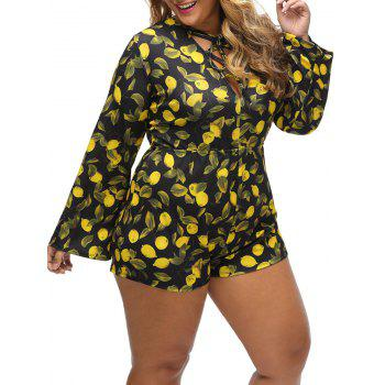 Plus Size Lemon Print Lace Up Romper - Jaune 3XL