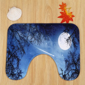 3Pcs / Set Moonnight Meteor Pattern Bathroom Rugs - bleu nuit