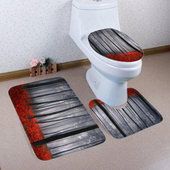 Misty Forest 3PCS Toilet Lid Cover and Floor Mat Set