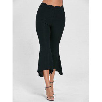 High Waisted Scalloped Flare Pants - L L