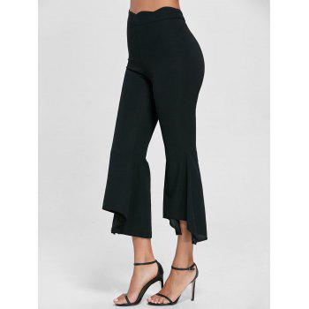 High Waisted Scalloped Flare Pants - BLACK L