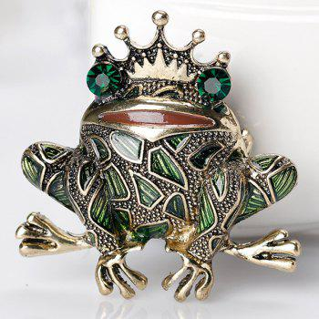 Faux Gemstone Inlaid Engraved Frog King Brooch - GREEN
