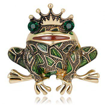 Faux Gemstone Inlaid Engraved Frog King Brooch