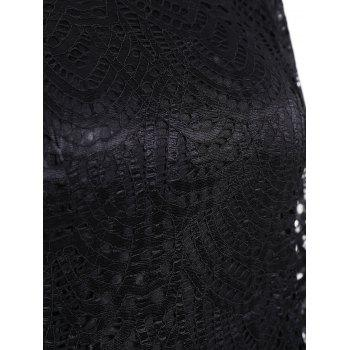 Long Sleeve Crew Neck Bodycon Lace Dress - BLACK S