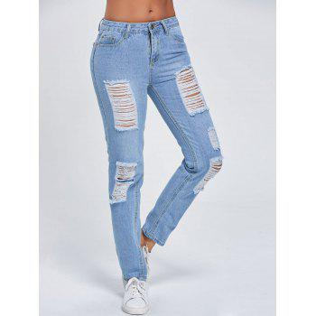 Cut Out Ripped Low Rise Jeans - BLUE BLUE