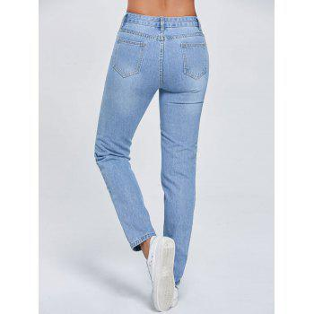 Cut Out Ripped Low Rise Jeans - L L