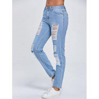 Cut Out Ripped Low Rise Jeans - BLUE XL