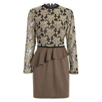 Long Sleeve Lace Flounce Insert Sheath Dress - KHAKI KHAKI