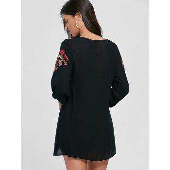 Embroidered Lace-up Shift Tunic Dress - S S