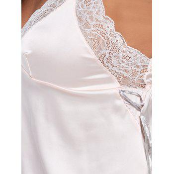 Lace Trim Satin Cami Pajamas Suit - ONE SIZE ONE SIZE