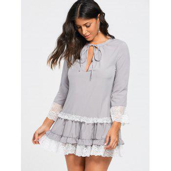 Three Quarter Sleeves Lace Trim Tunic Dress - LIGHT GRAY LIGHT GRAY