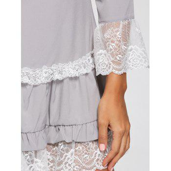 Three Quarter Sleeves Lace Trim Tunic Dress - L L