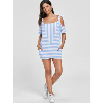 Cold Shoulder Striped T-shirt with Pockets - L L