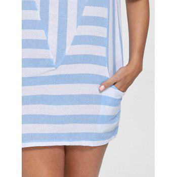 Cold Shoulder Striped T-shirt with Pockets - M M