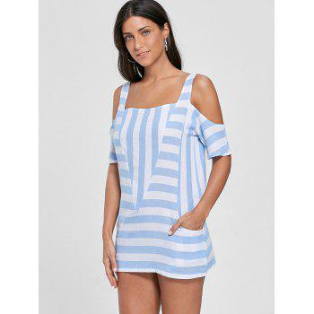 Cold Shoulder Striped T-shirt with Pockets - S S