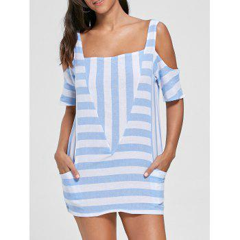 Cold Shoulder Striped T-shirt with Pockets - LIGHT BLUE S