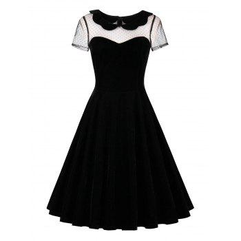 Short Sleeve Lace Insert 50s Velvet Dress