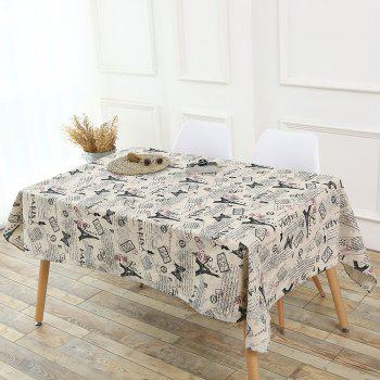 Kitchen Decor Tower Words Pattern Tablecloth - GRAY W55 INCH * L40 INCH