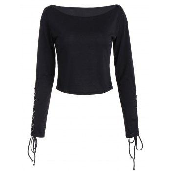 Long Sleeve Cropped Top with Lace Up - BLACK S