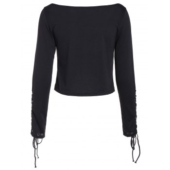 Long Sleeve Cropped Top with Lace Up - S S