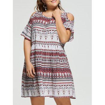 Plus Size Open Shoulder Bohemian Smock Dress