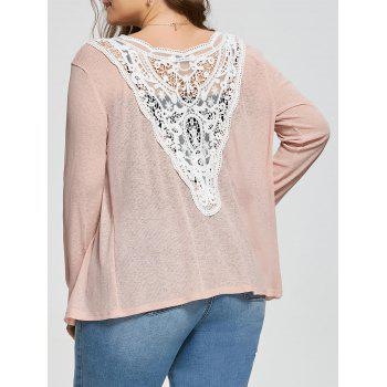 Back Lace Crochet Plus Size Ribbed Collarless Cardigan