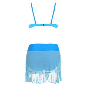 Push Up Bikini Set with Mesh Skirt - AZURE AZURE