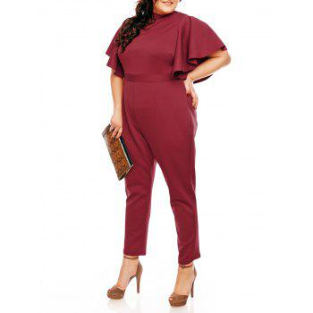 Plus Size Ruffles Sleeve High Waist Jumpsuit - WINE RED WINE RED