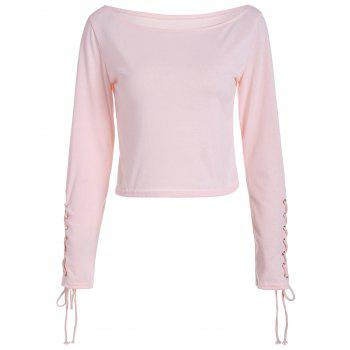 Long Sleeve Cropped Top with Lace Up