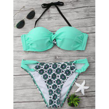 Halter Twist Printed Bikini Set - LIGHT GREEN M